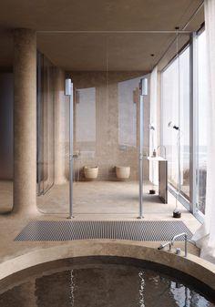 Interior Exterior, Bathroom Interior Design, Home Interior, Interior Architecture, Casa Cook, Saunas, Bathroom Trends, Beach Hotels, Beach Resorts