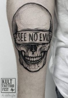 See No Evil Skull Tattoo.