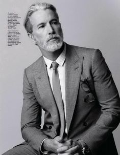 Optimum March 2013 with Aiden Shaw by Massimo Pamparana Aiden Shaw, Men Hair Color, Corporate Portrait, Men With Grey Hair, Mature Fashion, Elegant Man, Beard Tattoo, Well Dressed Men, Gentleman Style