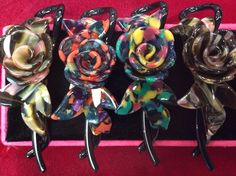 Center rose twist & lock in multi pink, multi red, and multi green