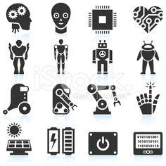Futuristic Robotics and Artificial Intelligence black & white icon set royalty-free stock vector art