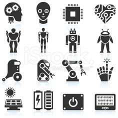 Futuristic Robotics and Artificial Intelligence black & white icon set royalty-free stock vector art