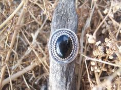 Black cabochon ring set in sterling silver. This was one of the pieces in my mothers vintate/estate jewelry collection (please see my bio). Marking on the ring reads: Sterling Size 8 Jewelry Collection, Gemstone Rings, Sterling Silver, Etsy, Black, Black People, Jewelry Rings