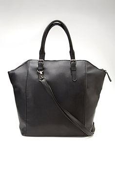 Structured Faux Leather Tote   Forever 21 - 1000098916