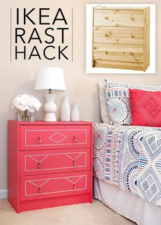 Hot Pink Dresser Completely Transformed with Paint, New Hardware and Crystal Nailhead Trim.