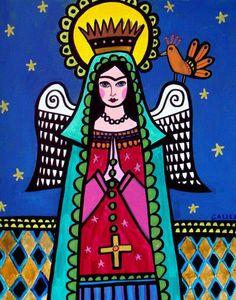 Virgin of Guadalupe Art Angel Mexican Folk Art Print Painting Poster Frida Kahlo
