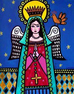 Virgin of Guadalupe Art Angel Mexican Folk Art Print Painting Poster Frida Kahlo