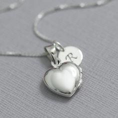 Personalized Heart Locket Necklace Sterling by alexandreasjewels