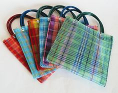 Mexican mini mercado bags. You will get 6 mini mexican mercado bags Mexican Mercado mini bags totes made in colorful, strong plastic mesh. Sturdy fabric and bright colors! These cute little bags can be used as party favors for aguinaldos or gift bags in Mexican Fiestas and Cinco de