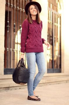 Merlot sweater, skinnies and leopard print pumps - yes please!