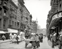 """Funeral procession in New York circa 1905. """"Mott Street."""" click to enlarge to see wonderful details."""