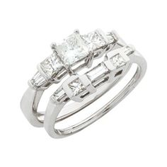 1 CT. T.W. Princess-Cut and Baguette Diamond Bridal Set in 14K White Gold - this engagement ring would go with Nannie's ring