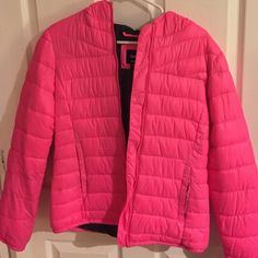 GAP Down Jacket pink down jacket, has a black mark on the back of the jacket, but other than that it's in good condition! has a hoodie too! (price reflects that) GAP Jackets & Coats Puffers