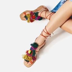 POMPOM LEATHER SANDALS-View all-SHOES-WOMAN | ZARA United States