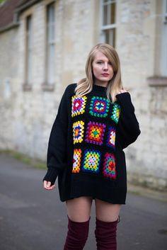 Crochet knitted jumper sweater dress with thigh high boots https://raindropsofsapphire.com/2017/10/02/the-crochet-blanket-jumper-dress-with-thigh-high-boots/
