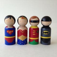 Superhero peg dolls 5pc Set by PegHeads on Etsy