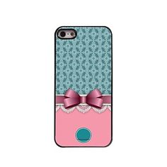 Personalized Gift Bowknot and Flower Design Metal Case for iPhone 5/5S – USD $ 5.99