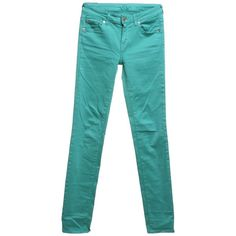 Pre-owned Skinny Jeans in mint green ($96) ❤ liked on Polyvore featuring jeans, green, patched skinny jeans, denim skinny jeans, mint skinny jeans, mint green skinny jeans and blue skinny jeans