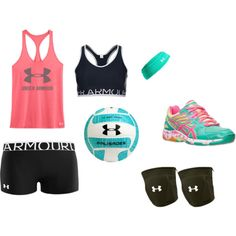 Volleyball Practice by brookeyboo-01 on Polyvore featuring Under Armour and Asics