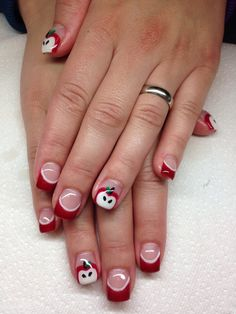 Treat yourself to red gel nails for Christmas Red Tip Nails, Red Nail Polish, Hair And Nails, Long Fingernails, Long Nails, Acrylic Gel, Acrylic Nail Designs, French Nails, Teacher Nails