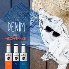 This is the time for summer festivals and concerts, choose a resistent nail polish with a great color for maximum impact. Are your hands ready to dance? Just try out Andreia Professional's gel polish shades 216, 257 and 264. Don't forget a pair of fresh denim shorts to match you nail polish look. #DenimStyle #Manicure / Em modo de festivais e concertos, escolham um verniz que dure e que cause impacto. Experimentem os TONS 216, 257 e 263 de Verniz Gel Andreia Professional.  Sentem as mãos…