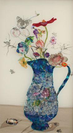 Textielcollages van Marieke Smink Collage Art, Collages, Little Stitch, Textile Fiber Art, Free Machine Embroidery, Fabric Art, Mixed Media, My Arts, Textiles