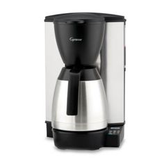 Capresso Coffee Maker with Glass Carafe, Pictured with stainless steel carafe Features: -Coffee maker. -Milled Steel, Stainless Steel, ABS and Polypropylene construction. -Glass carafe with ergonomic handle has brew through lid and . Espresso Machine Reviews, Coffee Maker Reviews, Best Coffee Maker, Drip Coffee Maker, Capresso Coffee Maker, Thermal Coffee Maker, Electric Coffee Maker, Coffee Aroma, Home