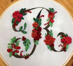 Victorian initial, letter R, silk ribbon embroidery