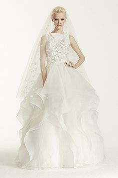 CMB657 Oleg Cassini High Neck Organzs Ball Gown with 3D Flowers