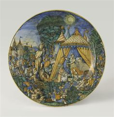 A faience plate with Judith and Holophernes,