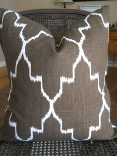 "Morrocan Ikat Same fabric both sides Brown  Decorative  Ikat fabric Large pattern Pillow  24"" covers  inch pillow shams. $45.00, via Etsy."