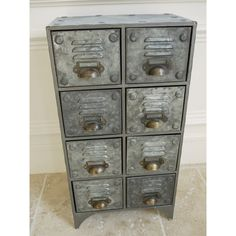 Vintage Retro style Industrial Metal Cabinet 8 Drawer Storage Cabinet Cupboard