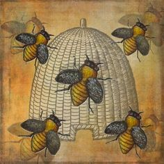 Telling the Bees - by Grimalkin Studio / Kandy Hurley Stunning graphic art with a lovely the woodblock feel via Buzzy Bee, Bee Skep, Bee Hives, Vintage Bee, Vintage School, Vintage Ephemera, I Love Bees, Bee Art, Bee Happy
