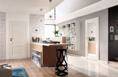Today we have for you 20 modern wood interior doors with glass, which can be embedded perfectly into our living rooms. Thing 1, Door Design, Glass Door, Corner Desk, Bookcase, Shelves, Living Room, Kitchen, Table