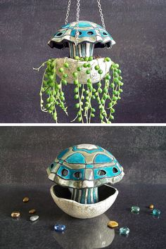 ceramic jellyfish hanging planter pot, hanging terrarium, coastal decor, raku pottery planter, ceramic planter, hanging pot, indoor planter, beach house decor. Made to order. Pretty hanging plant ideal for climbing plants. Choose your favorite color by choosing in the side