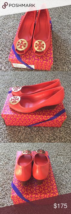 Authentic Tory Burch Wedge Habanero pepper with gold medallion.  Size 9.5.  Worn once.  In excellent condition.  Comes with box. Tory Burch Shoes Wedges