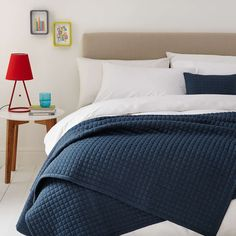 BuyHouse by John Lewis Jersey Bedspread, Navy Online at johnlewis.com