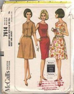 Vintage 1964 Misses Slim or Full Skirt Dress and Jacket Pattern McCalls 7614 Size 12 Bust 32 - Pattern Gate
