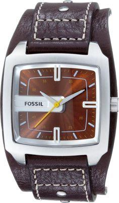 af9a3c9e9013 Montre Homme Fossil Trend JR9990 Bracelet Extra-large Cuir   Cadran carré