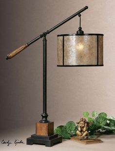 One Light Heavily Distressed Rustic Mahogany Table Lamp : V4C8 | A.D. Cola  Lighting