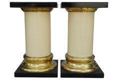 Black & Gold Column Pedestals, Pair