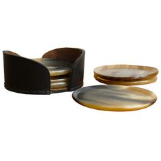 Horn & Leather Coasters by Carl Aubock