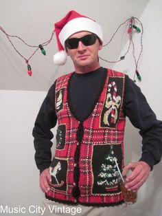 Ugly Christmas Sweater Vest Jumper, Vtg 90s, Tacky Plaid, Rocking Horse, Bows, Metallics, Beads, via Etsy.