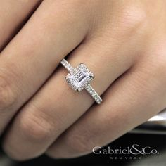 Gabriel & Co. - Voted #1 Most Preferred Bridal Brand. Such a beautiful emerald cut halo center stone in this engagement ring.