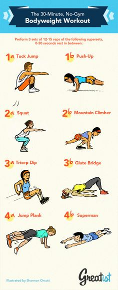 30-min, body weight workout (no gym/equip necessary). Good for travel or bad-weather days!