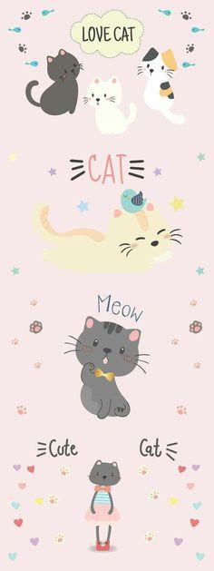 Cocoppa Wallpaper, Iphone Wallpaper Cat, Cute Pastel Wallpaper, Locked Wallpaper, Kawaii Wallpaper, Cute Wallpaper Backgrounds, Cute Cartoon Wallpapers, Wallpapers Whatsapp, Cat Pattern Wallpaper