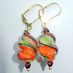 Orange Lime Green and Brown Glass Swirl Dangle by CloudNineDesignz, $25.00