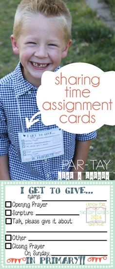 Primary sharing time assignment cards 2016 free printable. Includes theme: I know the scriptures are true.  Print on cardstock punch holes, tie yarn & the kids can wear them home.