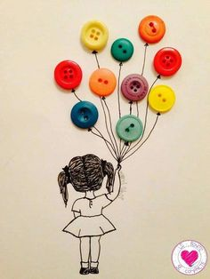 Kid's Crafts with Buttons for Mother - Basteln mit Knöpfen - Kids Crafts, Arts And Crafts, Paper Crafts, Button Crafts For Kids, Button Art Projects, July Crafts, Girl Holding Balloons, Hand Embroidery, Embroidery Designs