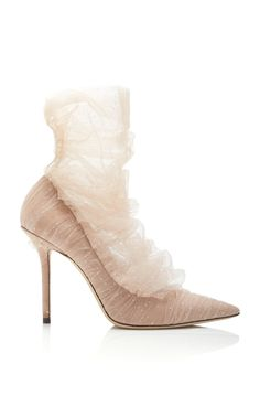 d1c37c75be02e8 Lavish Tulle-Paneled Suede Pumps by Jimmy Choo